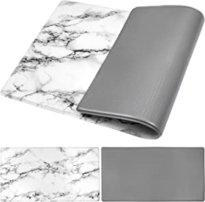 "OPUX Anti Fatigue Comfort Floor Mat | Standing Mat for Kitchen Home Office Desk | Reversible Decorative Ergonomically Engineered Rug | Non-Slip Waterproof Thick Easy Clean | Marble/Gray, 32"" x 17.5"""