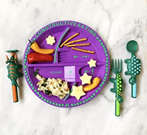 Constructive Eating Combo with Set of 3 Dinosaur Utensils and Garden Fairy Plate for Toddlers, Infants, Babies and Kids - Flatware Set is Made in The USA Using Materials Tested for Safety