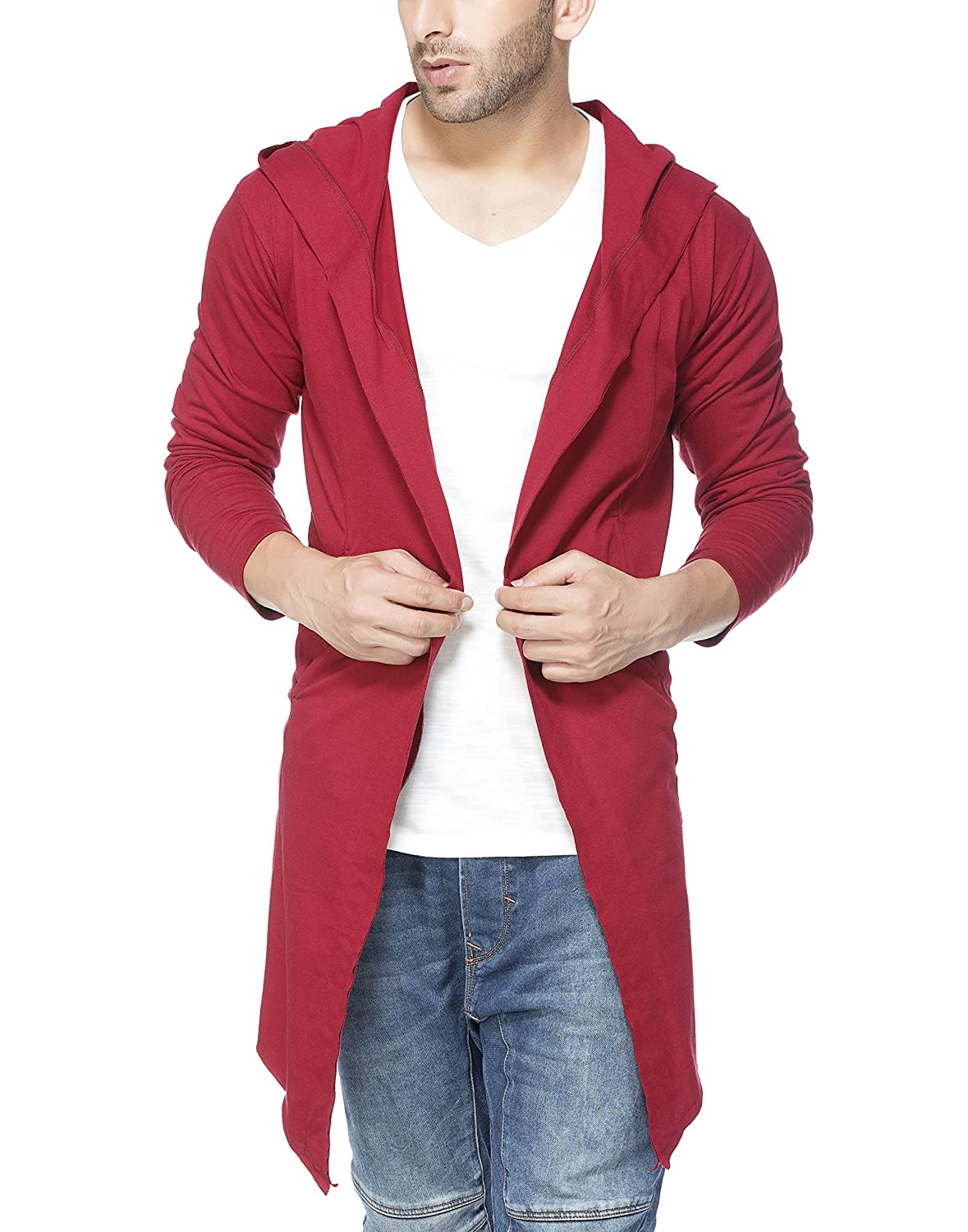 Tinted Men's Cotton Sinker Hooded Cardigan TJ5409