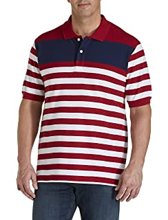 Harbor Bay by DXL Big and Tall Square Print Polo Shirt Blue Multi