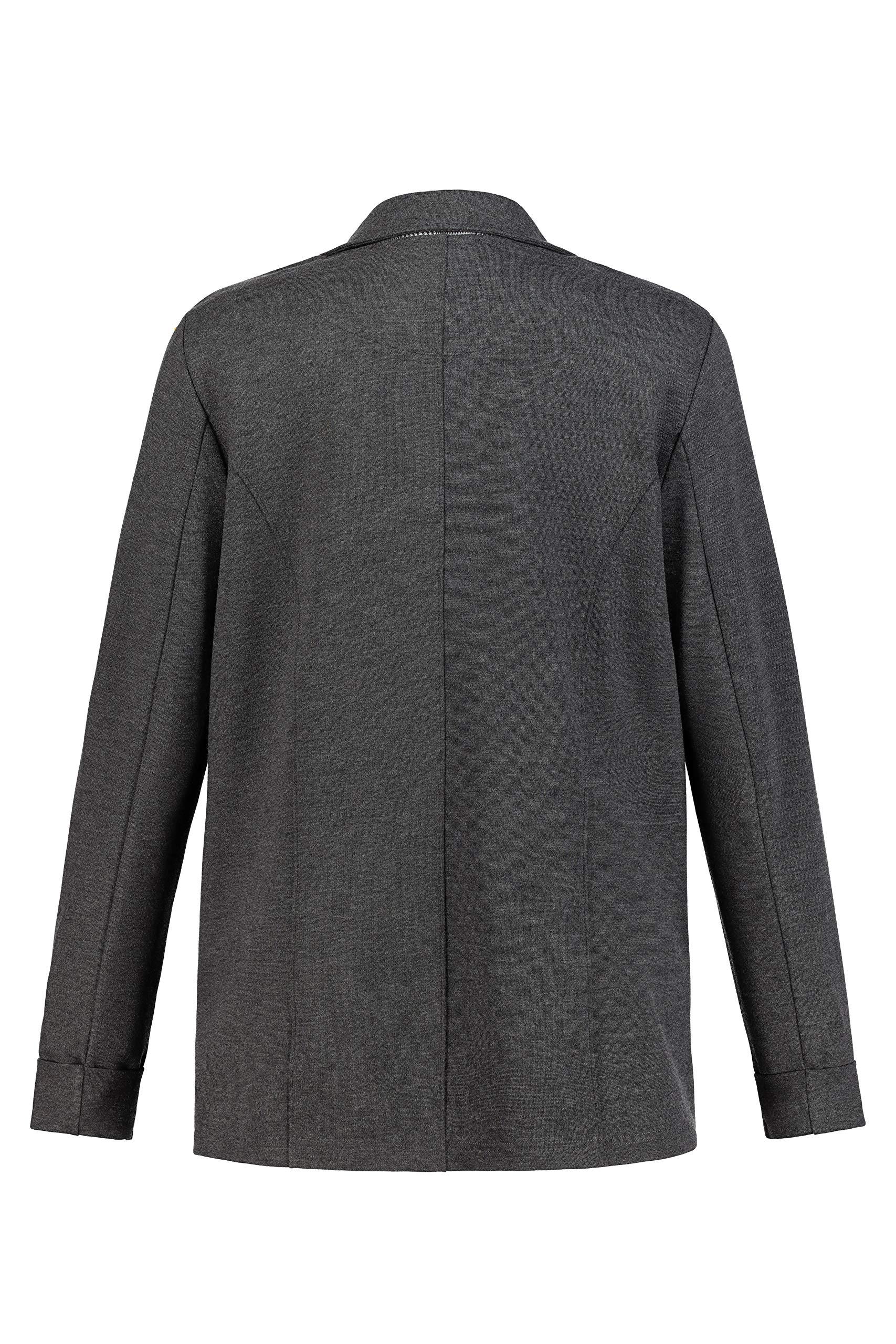 Ulla Popken Womens Plus Size Plaid Trimmed Jersey Blazer 719298