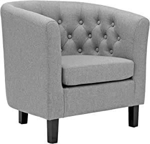 Modway Prospect Upholstered Fabric Contemporary Modern Accent Arm Chair in Light Gray
