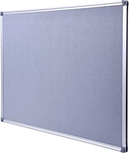 Aluminum Framed Wall- Mounted 48 x 36 Inch Large Fabric Bulletin Board Message Memo Pin Board for Home Office School, Grey
