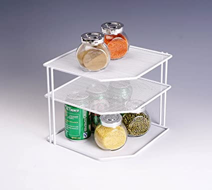 callas metal mesh kitchen corner shelf set of 2 ca 06375 white - Kitchen Corner Shelf