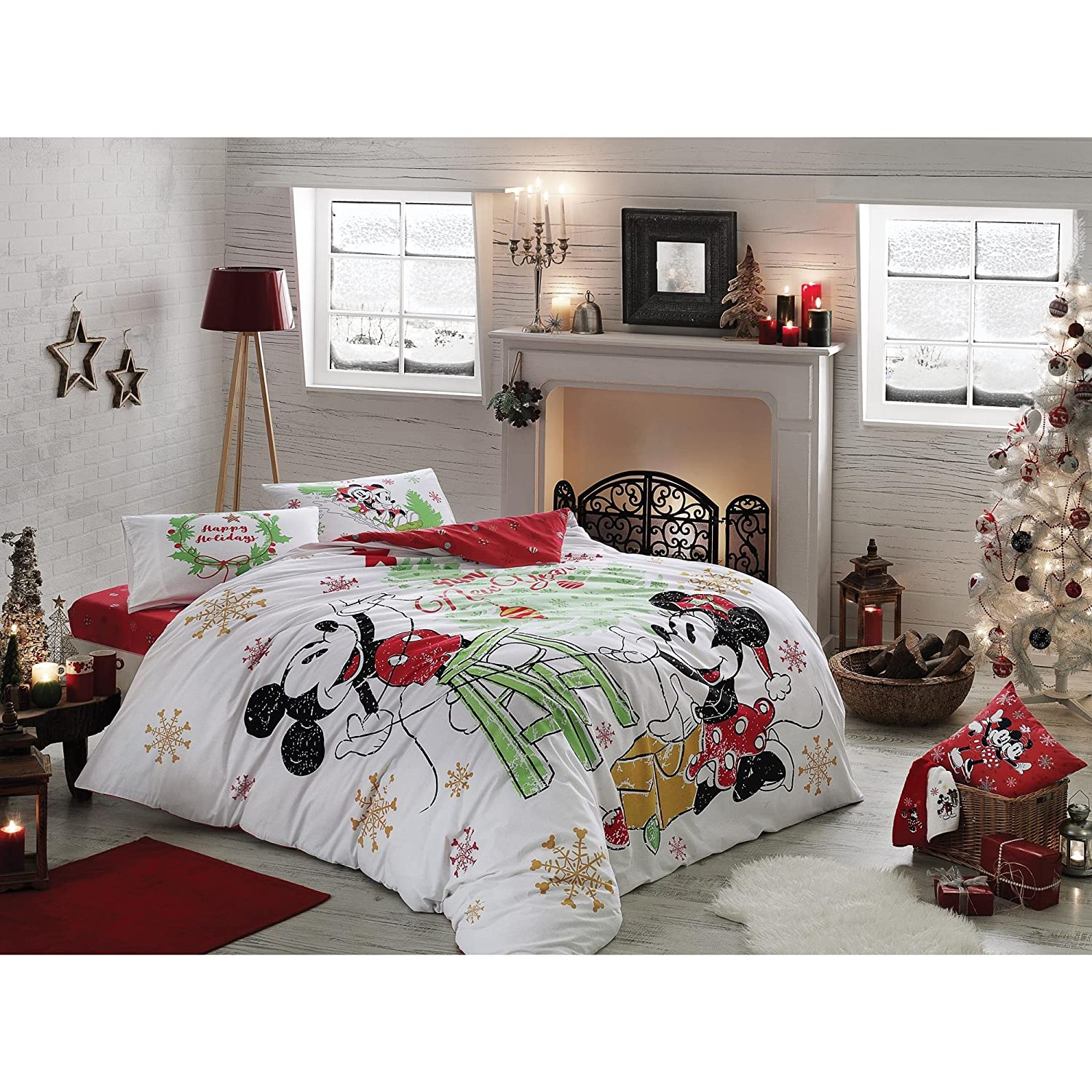 Disney Mickey Minnie Happy New Year 100% Cotton Full/Double Size 4 Pieces Bedding Set, Quilt/Duvet Cover Set with Duvet Cover, Fitted Sheet and 2 Pillow Cases… TAC 60174614