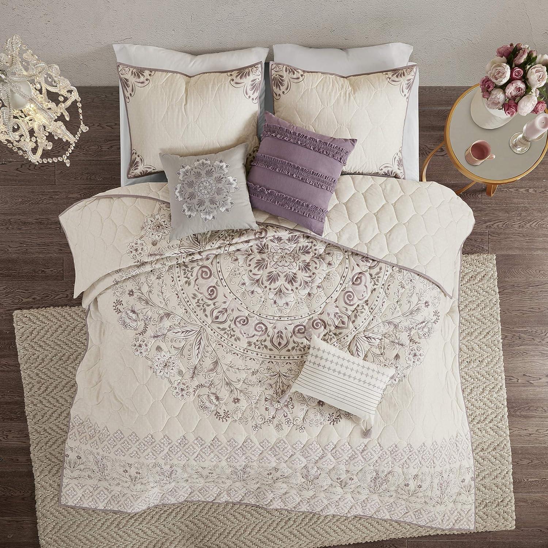 Full//Queen Purple Madison Park Elise 3 Piece Cotton Printed Reversible Duvet Cover Set
