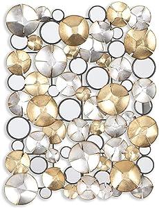 SEI Furniture Locarno Metal Wall Sculpture, Gold, Silver