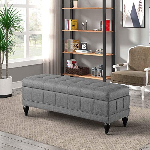 Bellemave Storage Ottoman, Upholstered Rectangular Storage Ottoman Bench, Grey