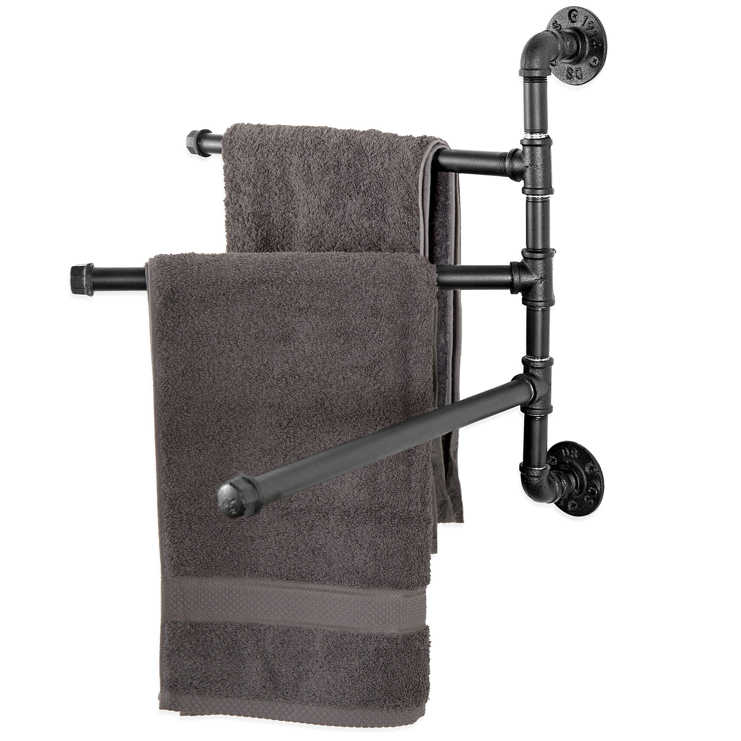 MyGift Wall-Mounted Industrial Pipe 3-Arm Swivel Towel Bar Rack, Black by MyGift