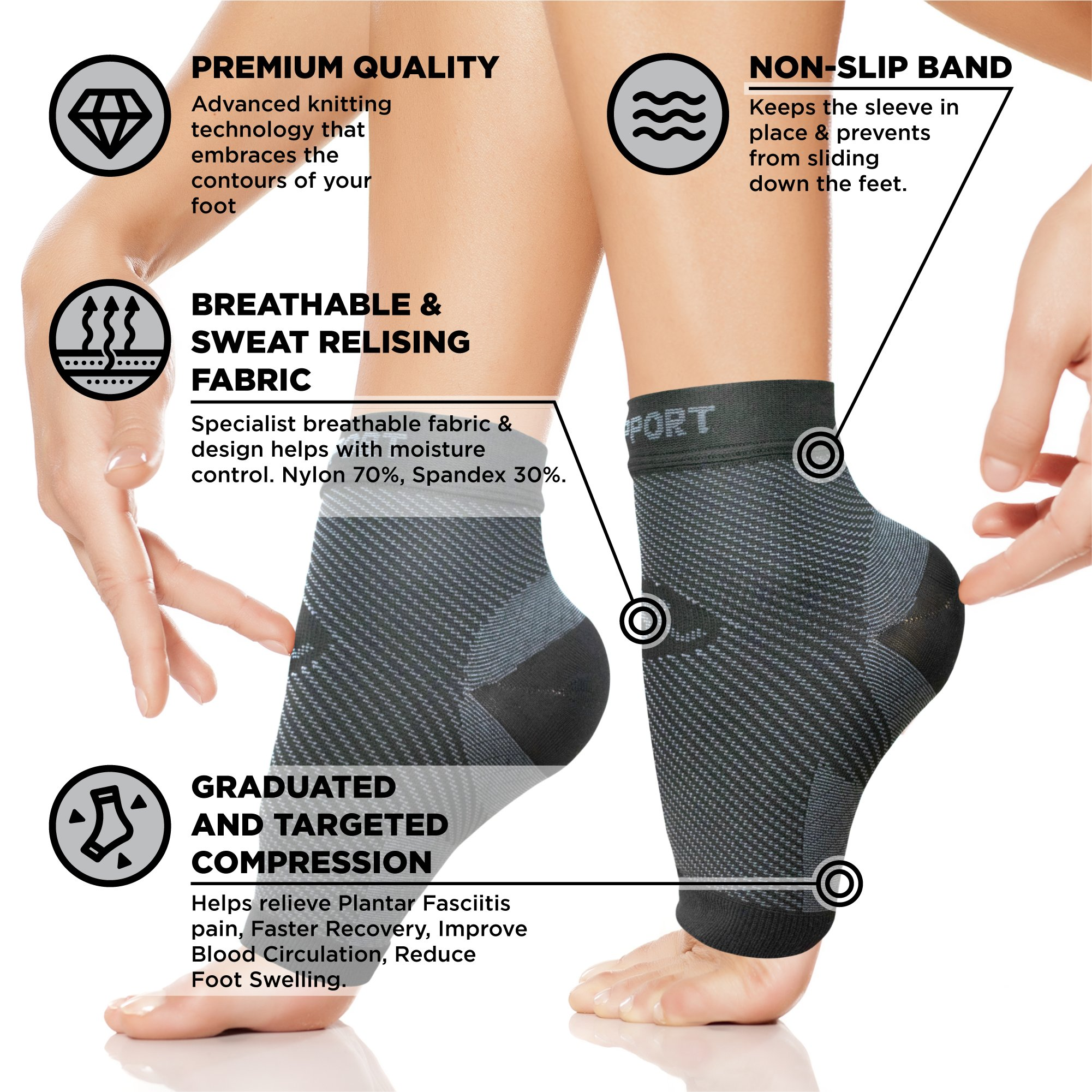Plantar Fasciitis Socks for Men and Women - Foot Compression Sleeves for Arch Pain - Heel Spur - Achilles Tendon Pain - Foot Sweling by PURE SUPPORT by Pure Support (Image #3)