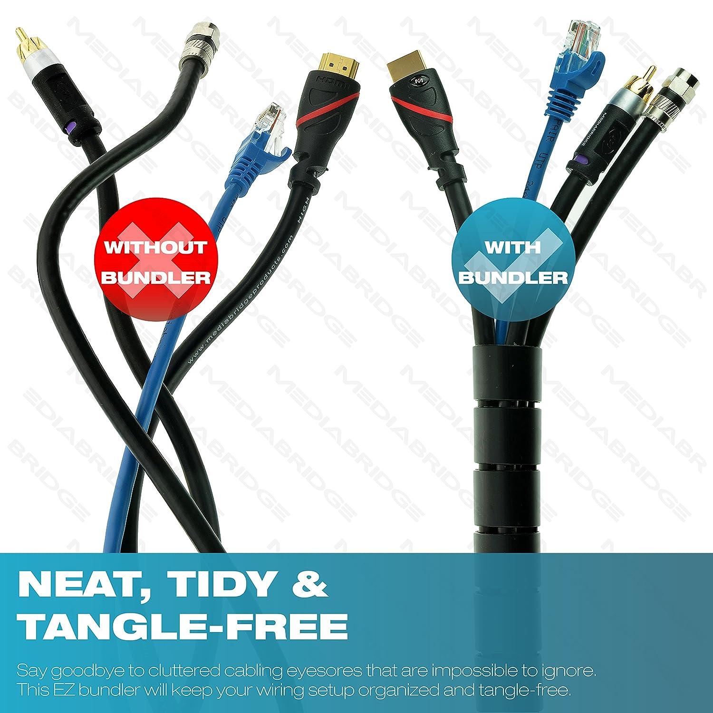 Mediabridge EZ Cable Bundler (6 Feet) - 1' Width - Flexible & Expandable Cable Management Sleeve (Part# CM1-25-06B) �