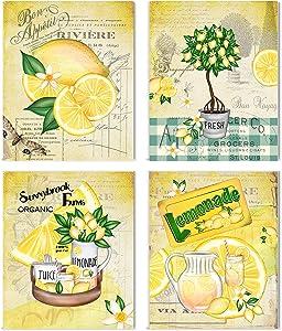 Set of 4 UNFRAMED Kitchen Decor Art Prints (Lemons)