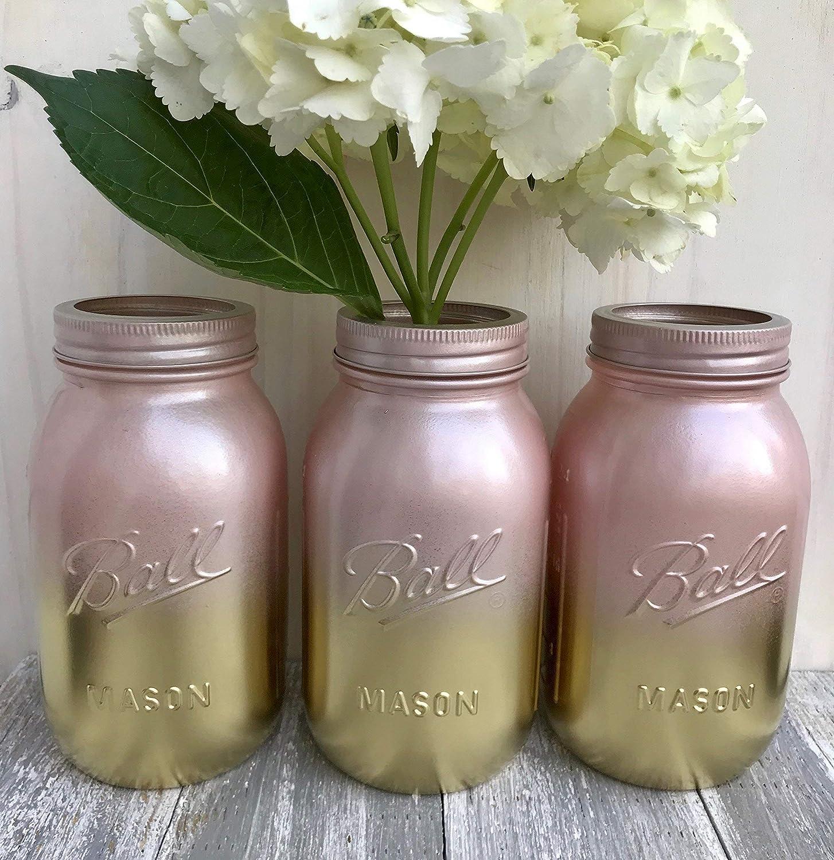 metallic gold and blush pink painted mason jars bridal shower centerpiece set of 3