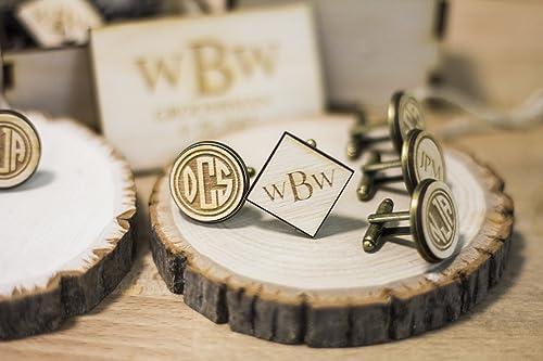 Wooden Wedding Personalised Cufflinks Groom Groomsman Bestman