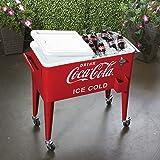 80 Quart Rolling Retro Coca Cola Cooler