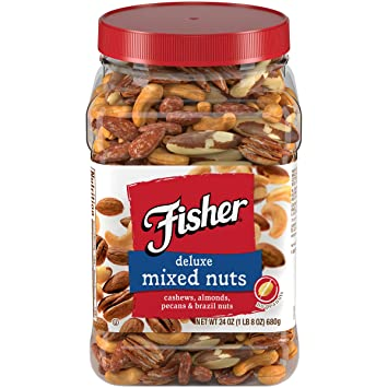FISHER Snack Deluxe Mixed Nuts Tub, 24 oz Container