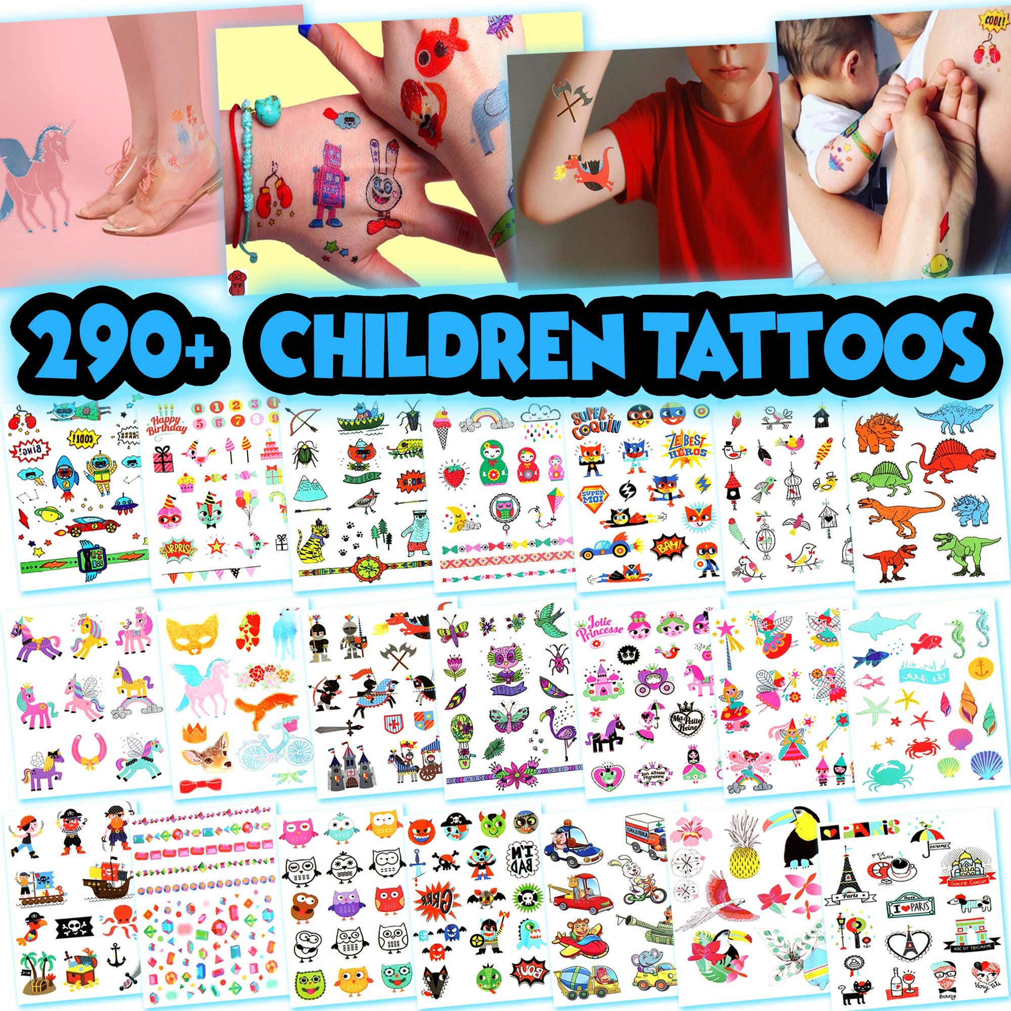 Kids Temporary Tattoos - More Than 290 Easy-to-Use Tattoos for Children (Assorted - 21 Sheets)