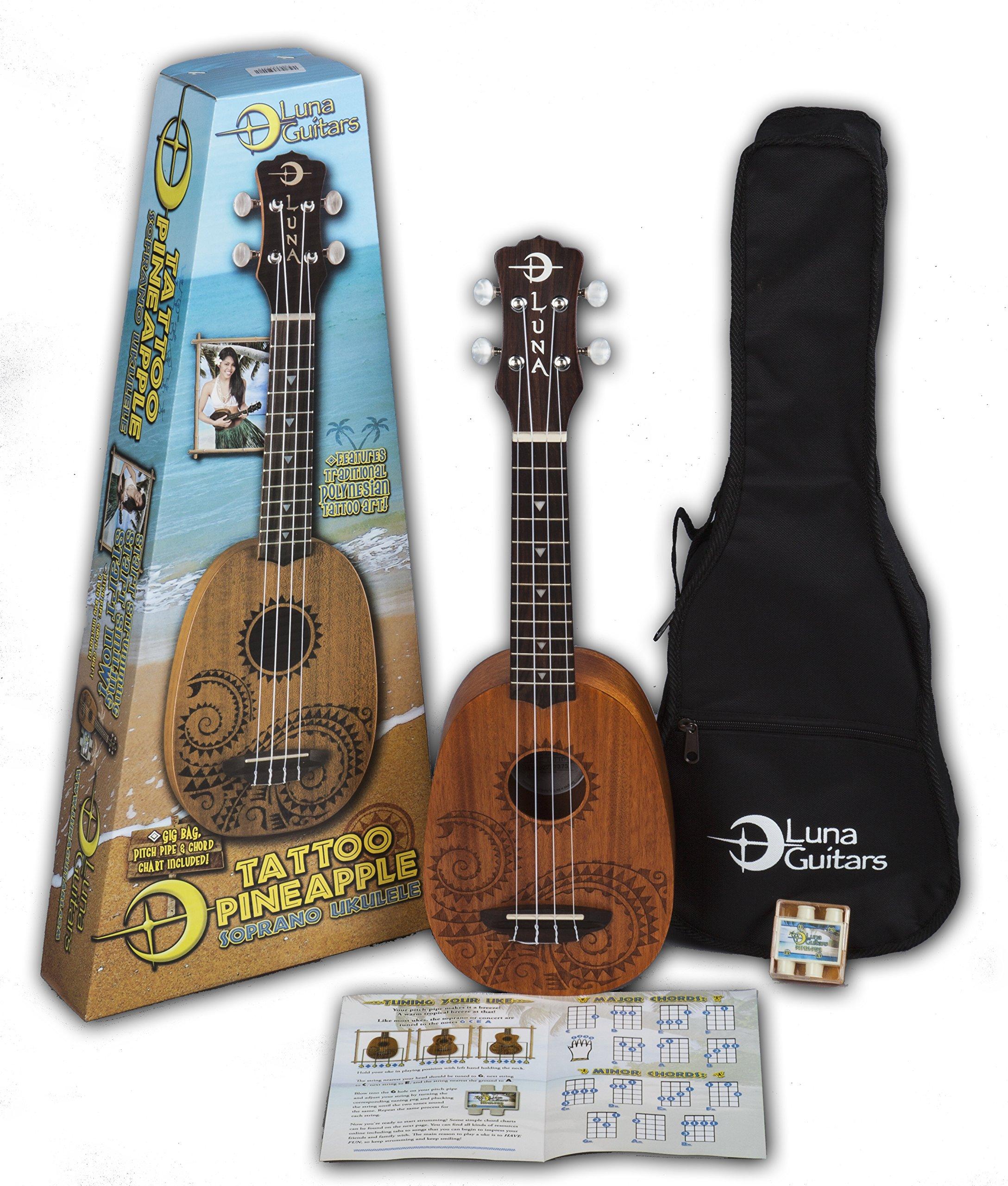 Luna Tattoo Mahogany Soprano Pineapple Ukulele Pack by Luna Guitars