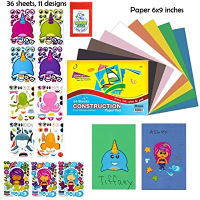 "36 Pc Under the Sea Make A Sticker Sheets With 6x9"" Background Construction Paper Pad (12 Make a Narwhal,12 Make a Mermaid & 12 Make a Sea Sticker Sheets) - Great for Beach Party Favors, Kid's Stocking Stuffers, Toddler Party"