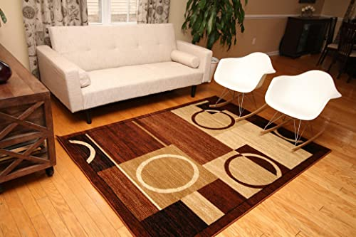 Feraghan New City Brand New Contemporary Modern Squares Circles Area Rug, 9 x 12 , Brown Beige