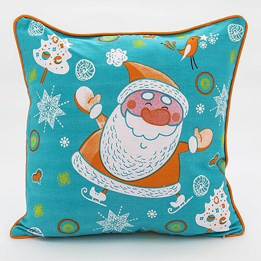 Adam Linens 100% algodón impreso de diseño para Navidad cojín azul Santa: Amazon.es: Hogar