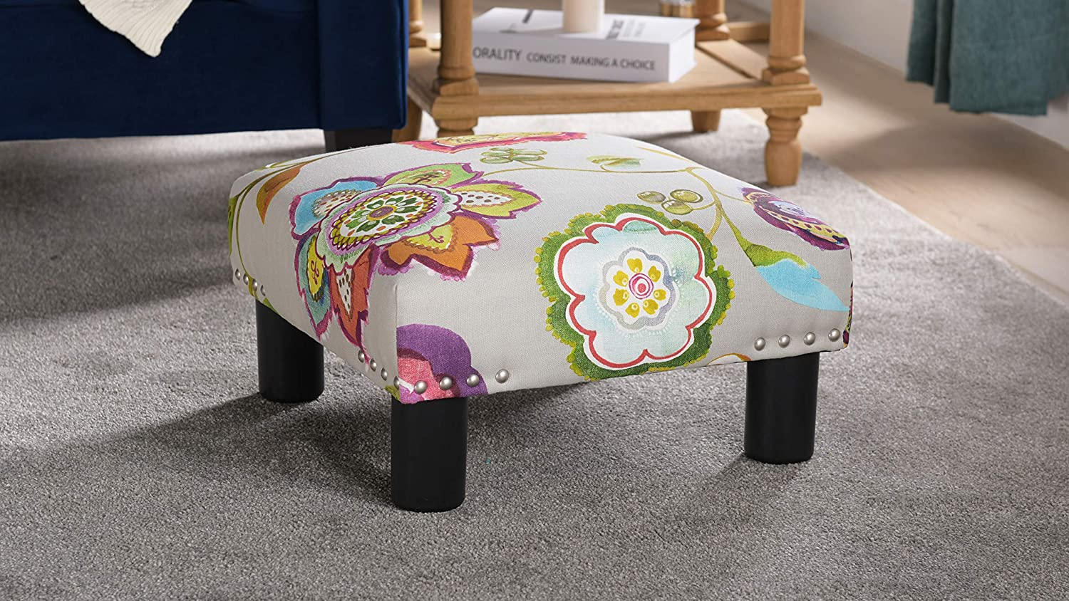 Jennifer Taylor Home Jules Collection Contemporary Nailhead Trim Accent Ottoman Bench, Multicolor/Floral Print