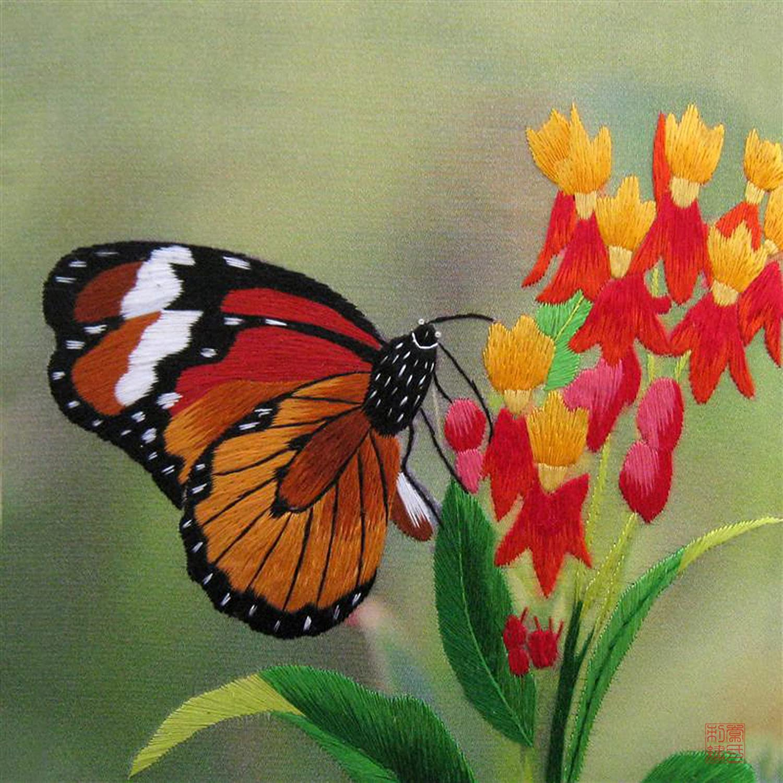 Susho king silk art handmade silk embroidery monarch butterfly susho king silk art handmade silk embroidery monarch butterfly on fuchsias medium size 33024w amazon kitchen home biocorpaavc Gallery