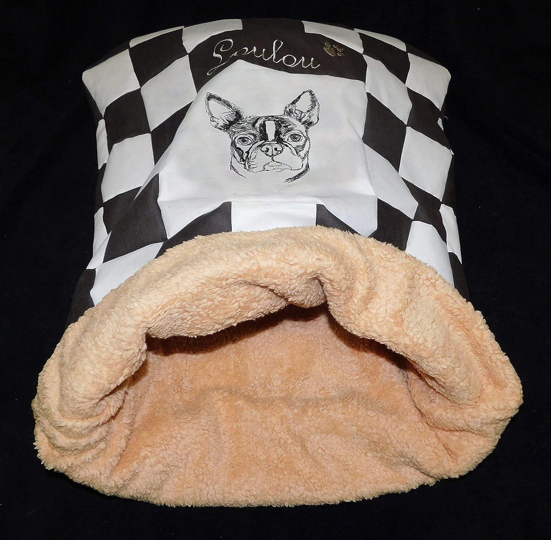 LunaChild Hunde Kuschelhöhle Hundebett Boston Terrier 1 Name Snuggle Bag Größe S M L oder XL in vielen Farben erhältlich
