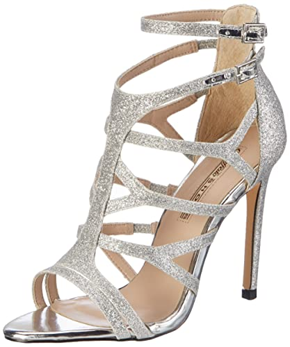 Buffalo David Bitton Buffalo Shoes 16S15-6 Glitter, Sandales Bout Ouvert Femme, (Silver), 41 EU