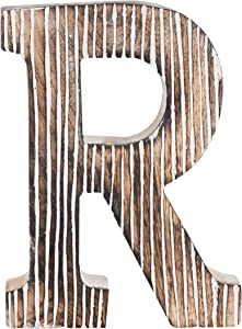 Decorative Wood Letter R | Standing and Hanging Wooden Alphabets Block for Wall Decor | Shabby Chic Wood Block Letter for Wall Table | Alphabet Letter for Home Bedroom Birthday Housewarming Party