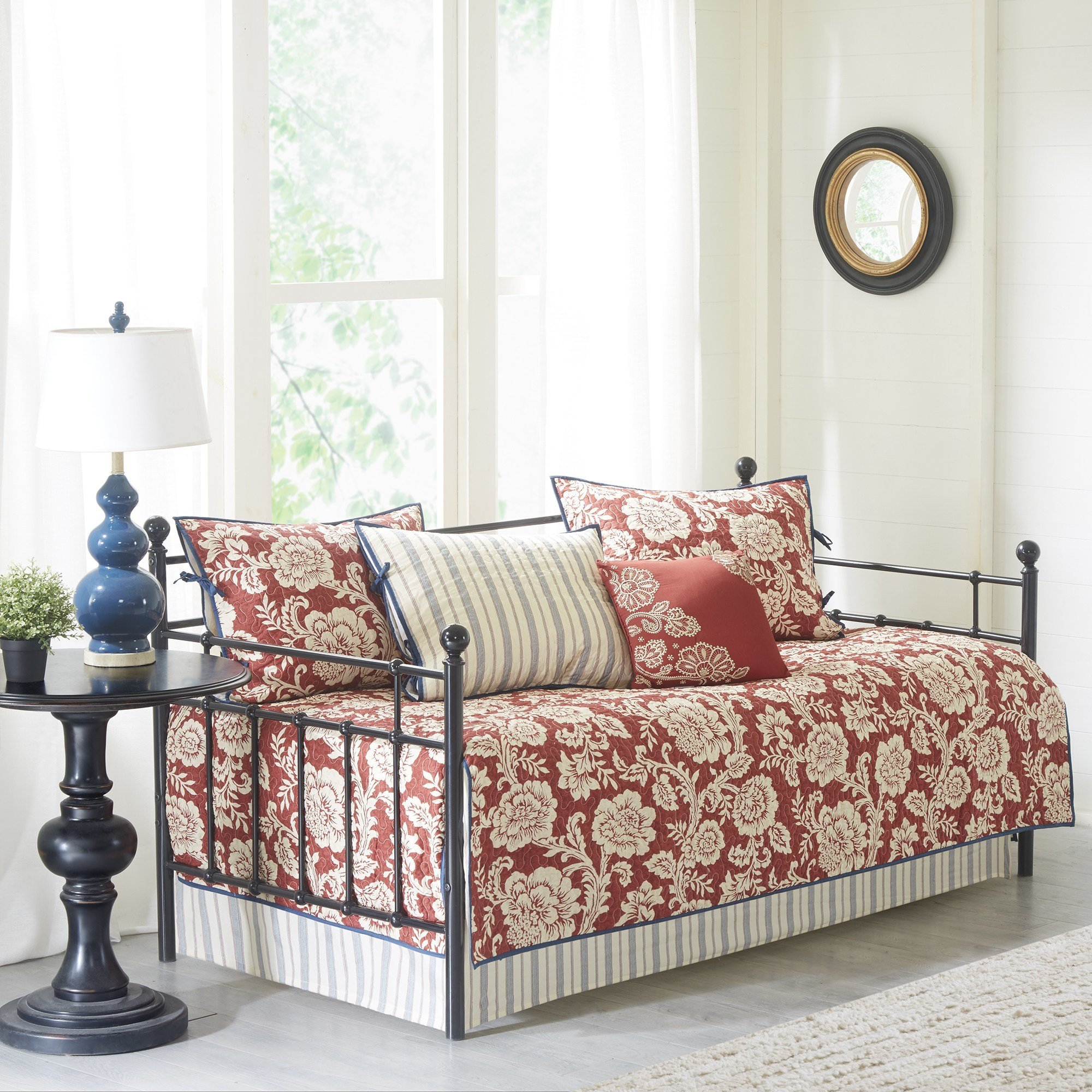 6 Piece Red White Floral Daybed Set Bedding, Geometric French Country Shabby Chic Motif Flower Traditional Pattern Day Bed Bedskirt Pillows, Polyester