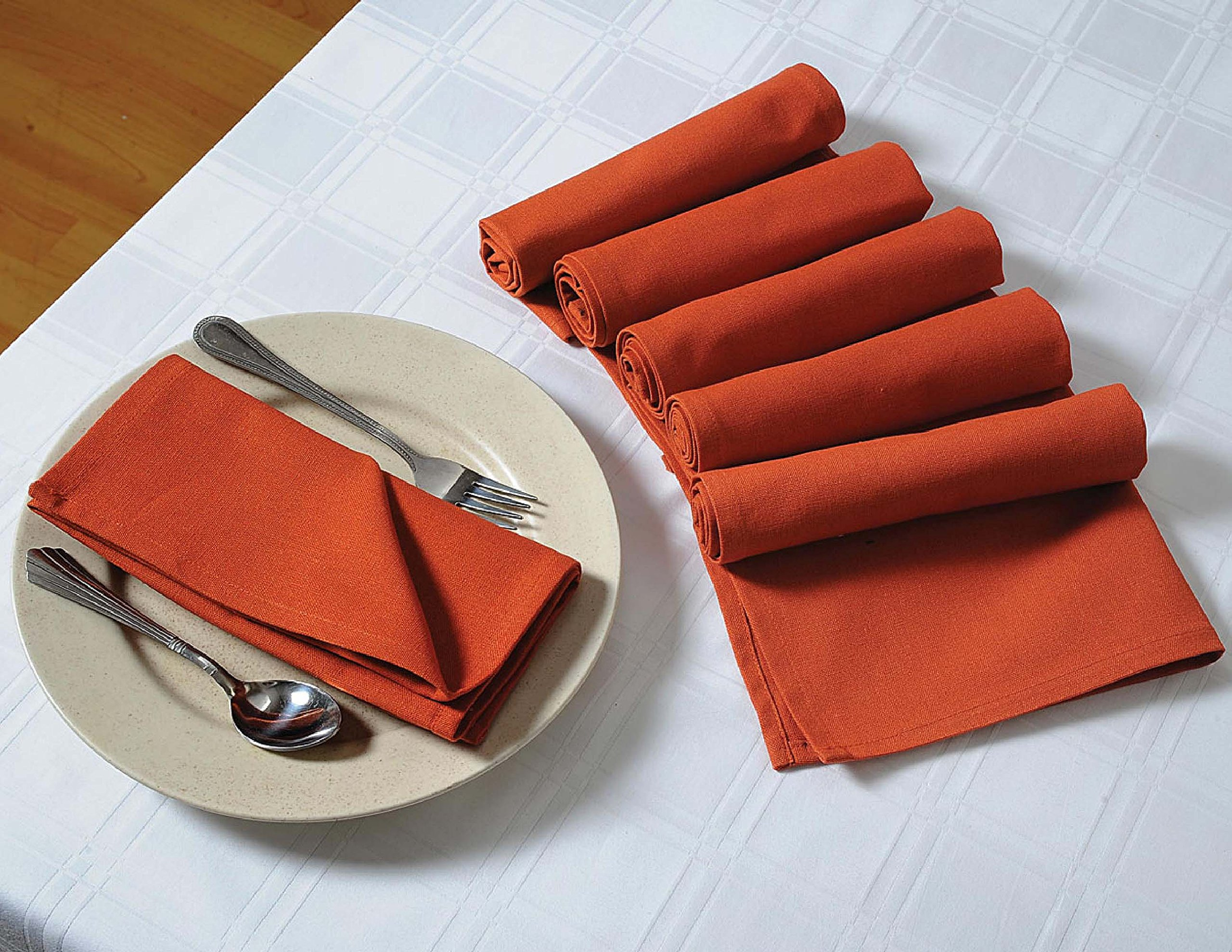 ShalinIndia Solid Color Cotton Dinner Napkins - 20'' x 20'' - Set of 24 Premium Table Linens for the Dining Room - Rust