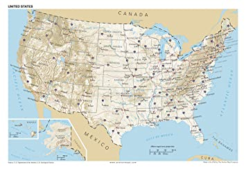 13x19 Anchor Maps United States General Reference Wall Map Poster ...