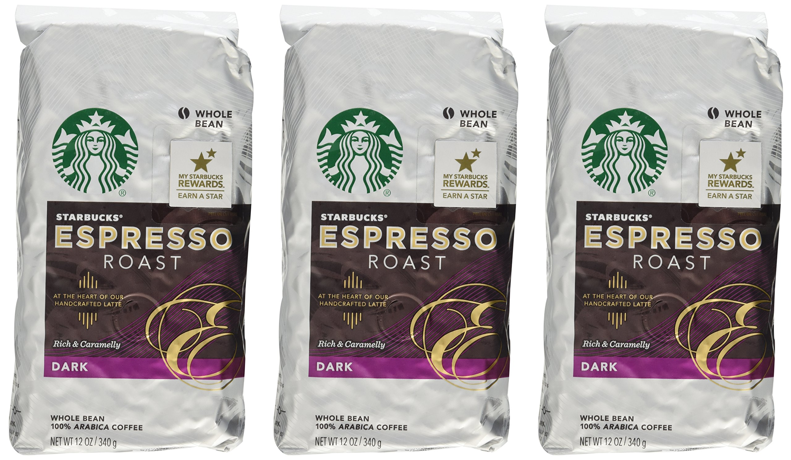 Starbucks Espresso Roast Coffee, Whole Bean, 12-Ounce Bags (Pack of 3)