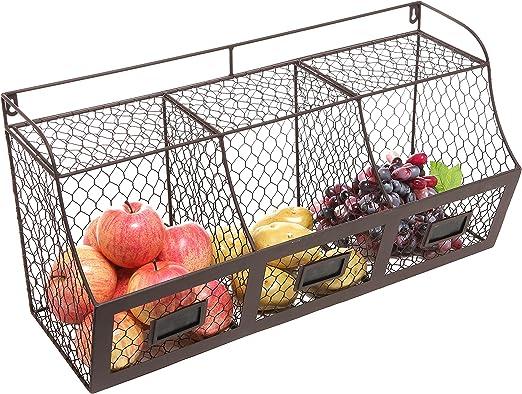 Amazon Com Large Rustic Brown Metal Wire Wall Mounted Hanging Fruit Basket Storage Organizer Bin W Chalkboards