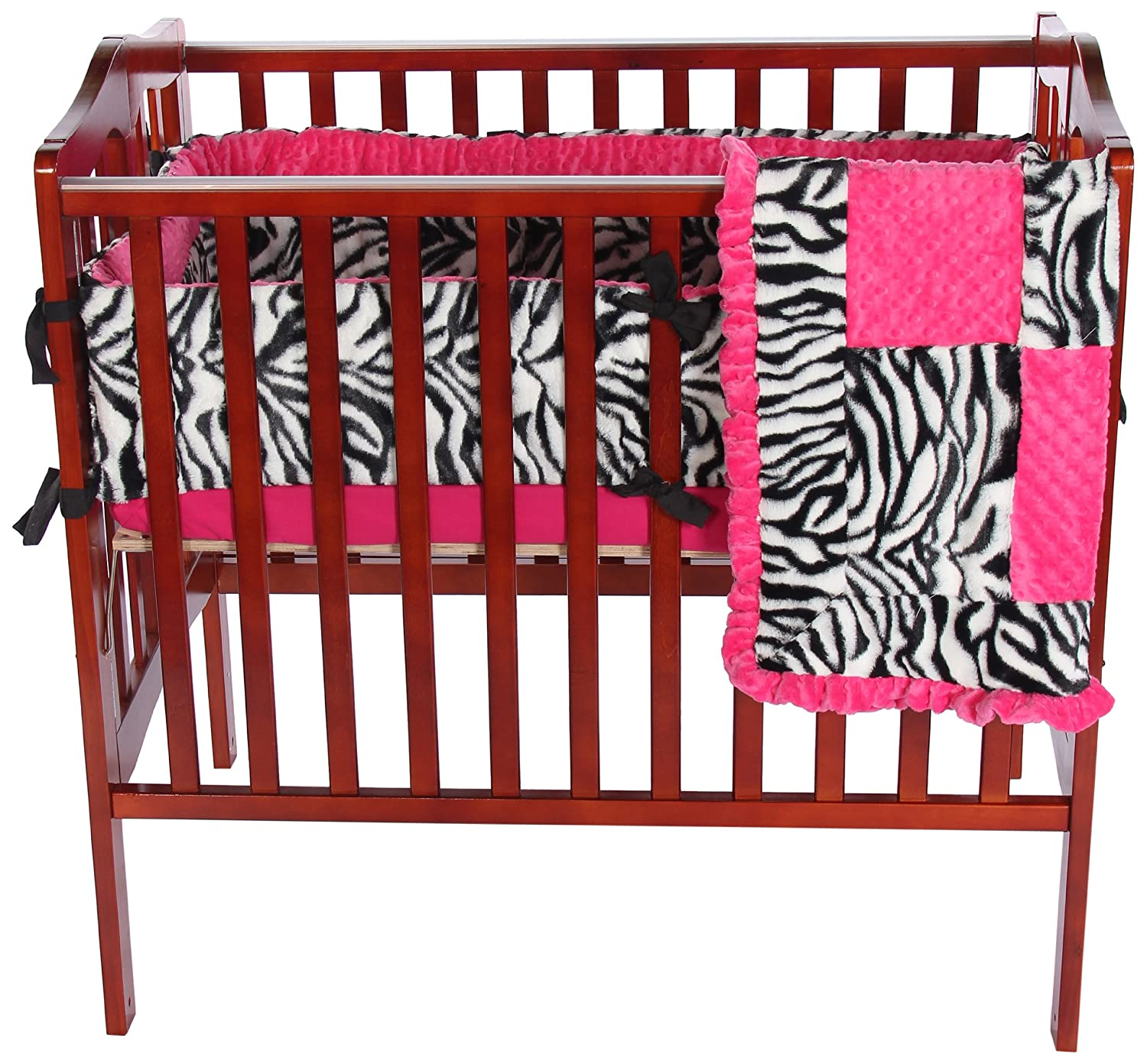 Baby Doll Bedding Zebra Minky Mini Crib/ Port-a-Crib Bedding Set, Pink 8950pac