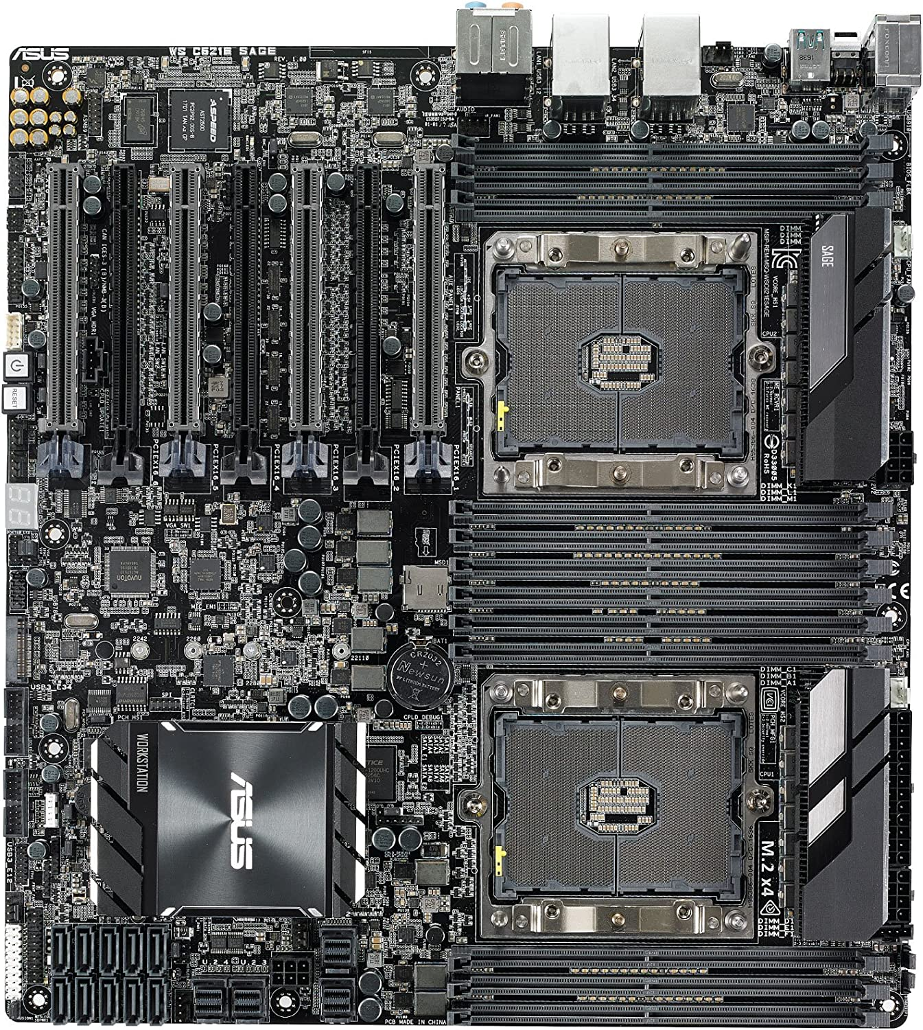 ASUS WS C621E Sage Extreme Power Intel Xeon Processor Workstation Motherboard for Two-way XEON CPU performance, with U.2, M.2 connectors, dual Gb LAN, USB 3.1 Type-C & Type-A, 10 x SATA 6Gb/s ports