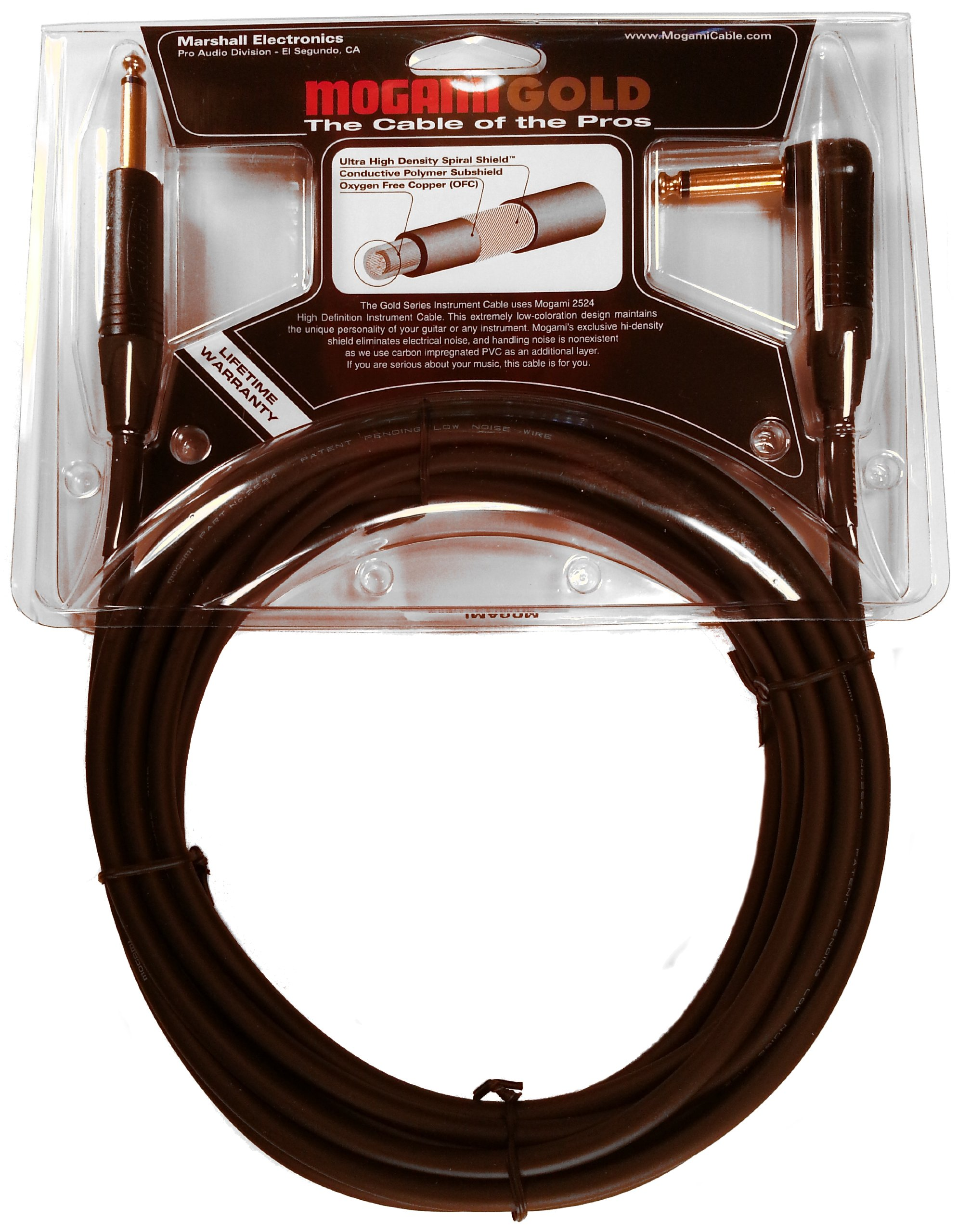 Mogami GOLD INSTRUMENT-18R Guitar Instrument Cable, 1/4'' TS Male Plugs, Gold Contacts, Right Angle and Straight Connectors, 18 Foot by Mogami (Image #3)