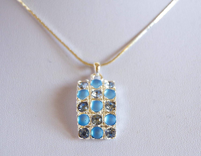 Colgante con piedras de colores brillantes y mate. Envío GRATIS 72h (Azul)