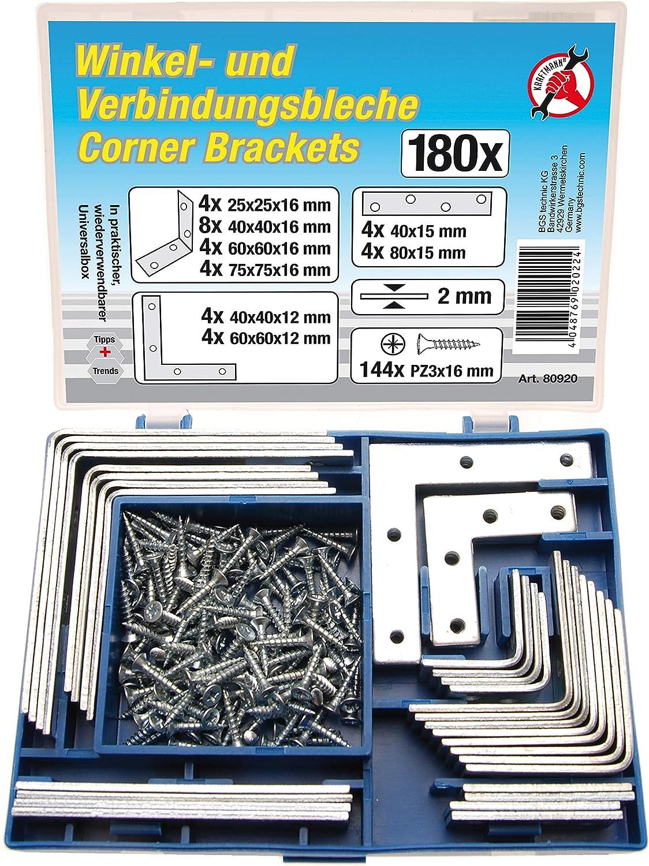 180 piezas placas y tornillos Kraftmann 80920 Juego de escuadras