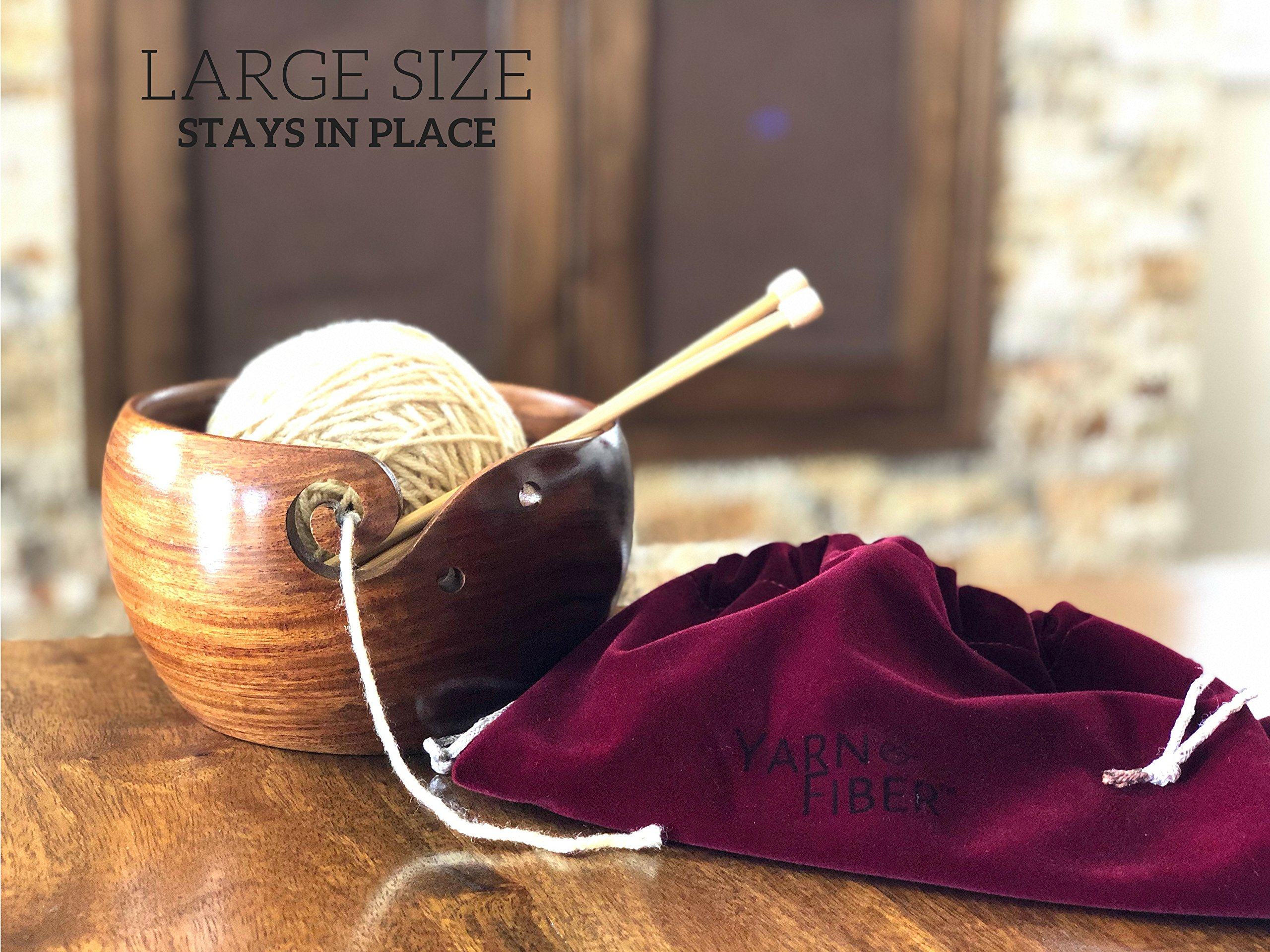 Yarn & Fiber Premium Yarn Bowl | Large 7x4 Inch with Travel Bag | Smooth Handcrafted Rosewood, Stop Yarn From Rolling, Knitting and Crochet Yarn Holder by Yarn & Fiber (Image #2)