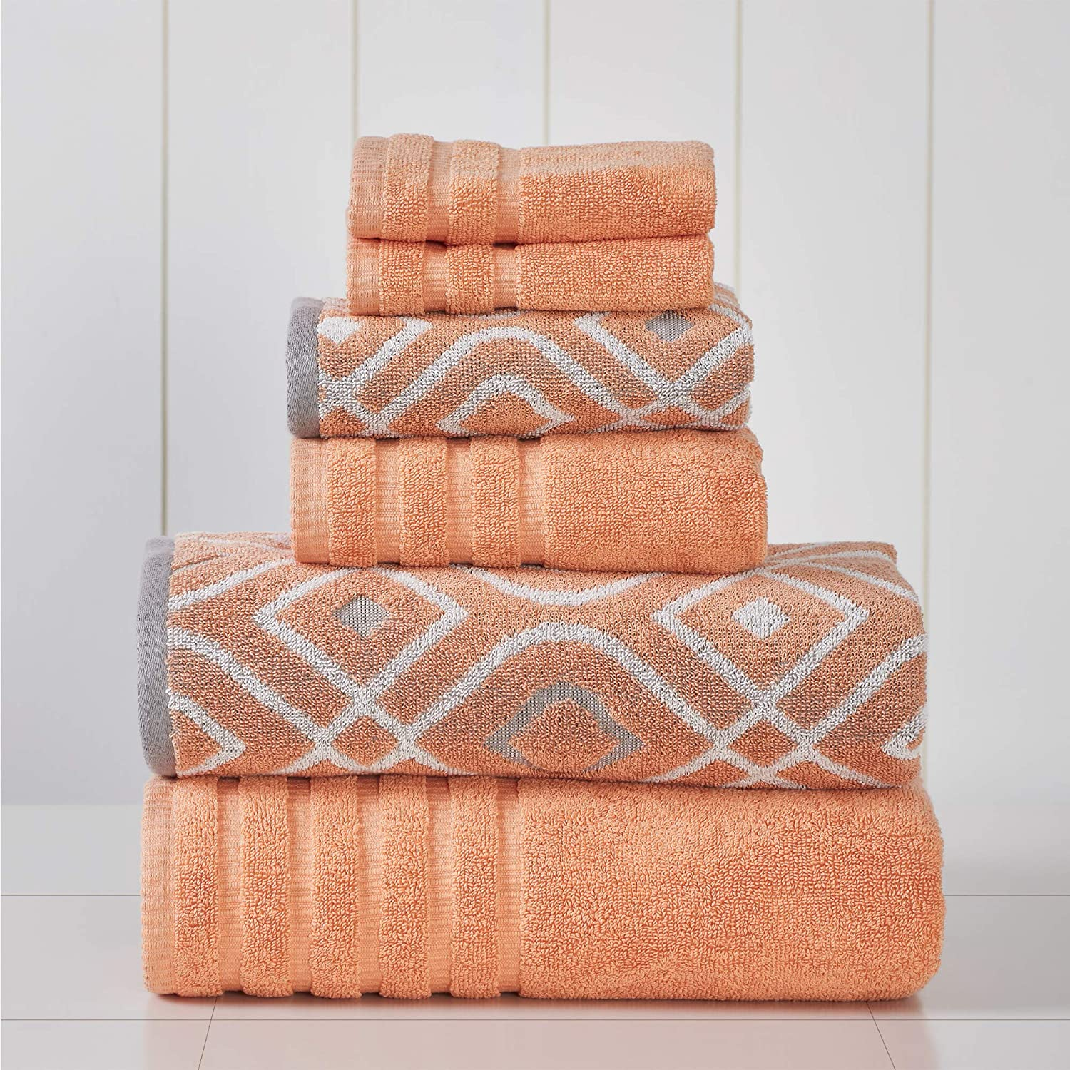 Amrapur Overseas 6-Piece Yarn Dyed Oxford Stripe Jacquard/Solid Ultra Soft 500GSM 100% Combed Cotton Towel Set [Coral]