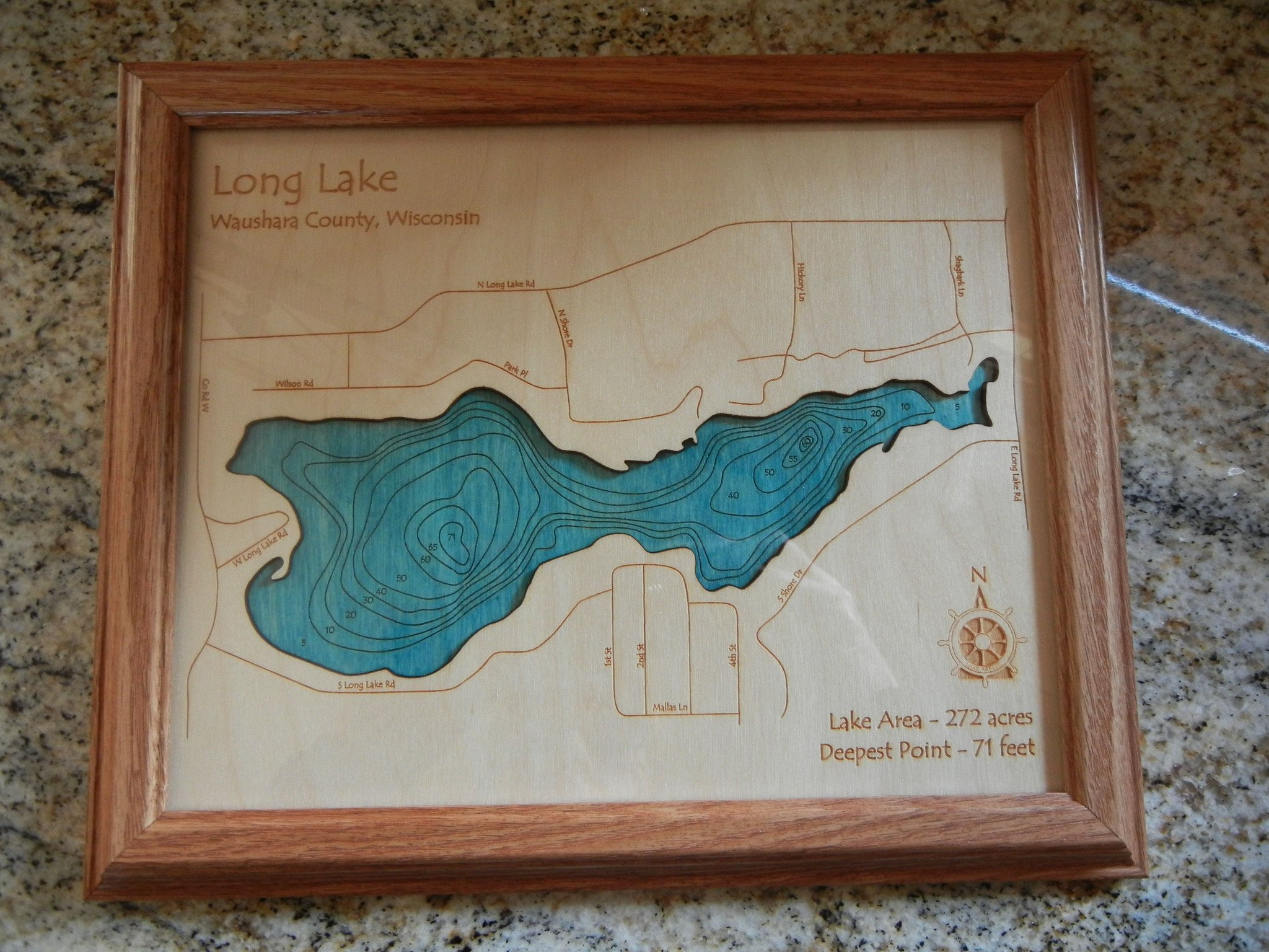 Lake Hamilton in Garland, AR - 2D Map 8 x 10 IN - Laser carved wood nautical chart and topographic depth map. by Long Lake Lifestyle (Image #3)