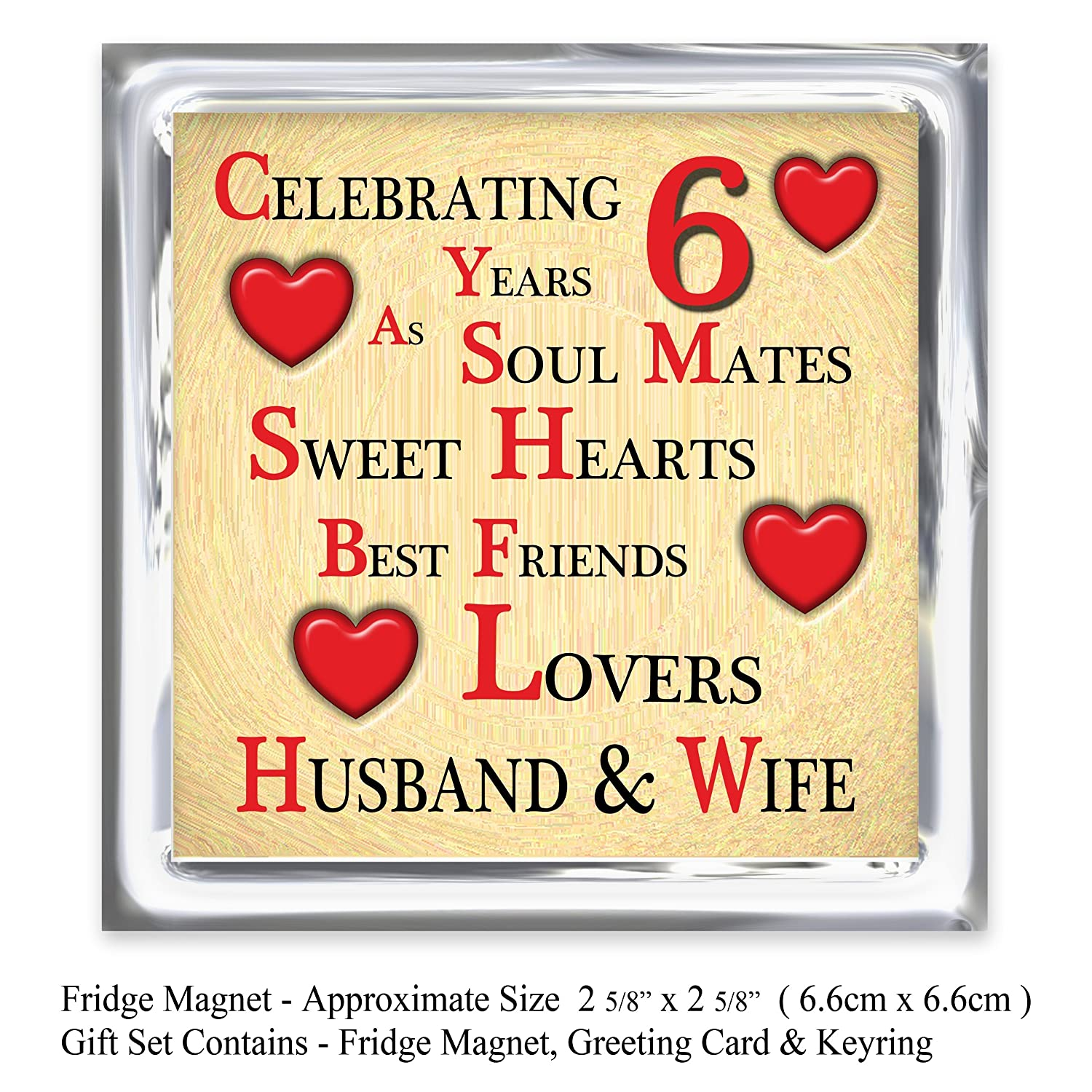 Our 6Th Wedding Anniversary Gift Set  Card, Keyring &