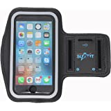 "Ultimate Summit's Touch ID Plus Size (5.5"") Access Running Armband w/ Key Holder and Screen Protector for iPhone 7Plus, 6Plus, 6SPLUS, Galaxy S7 Edge, S6 Edge, S5, Note 5/4/3, LG G4 (Black)"