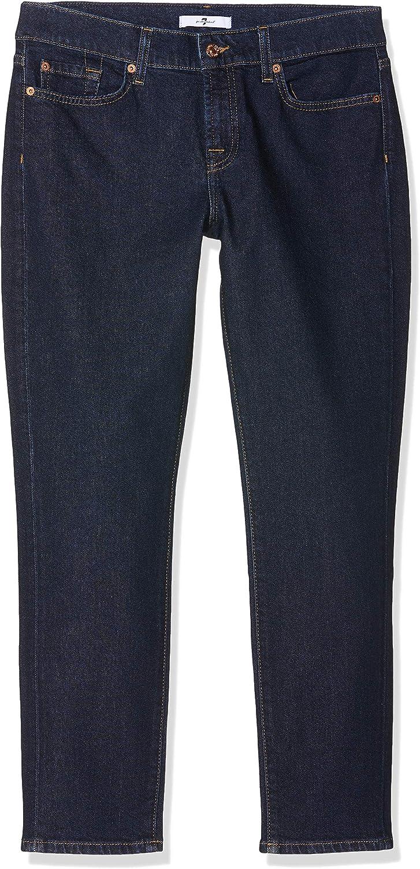 7 For All Mankind Damen Mid Rise Roxanne Crop Slim Jeans Blau (Dark Blue Rb)