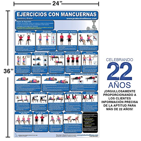 Amazon.com : Ejercicios con Mancuernas - Hombros y Brazos - Cartel - Dumbbell Exercises - Shoulders and Arms (Spanish Edition) Laminated 24
