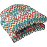 Pillow Perfect Indoor/Outdoor Nivala Wicker Seat Cushion, Blue, Set of 2