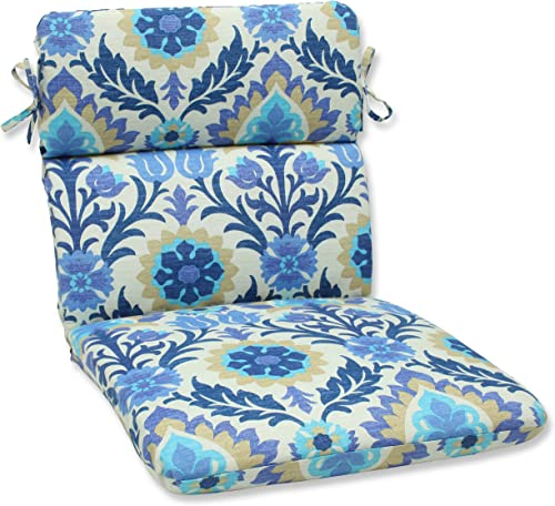 Pillow Perfect Outdoor Indoor Santa Maria Azure Round Corner Chair Cushion, 40.5 x 21 , Blue