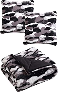 Morgan Home Fashions Luxury Faux Rabbit Fur Throw Blanket with Matching Pillow Shells for The Ultimate Home Decor- 3 Colors Available (Exotic (with Pillow Shells))